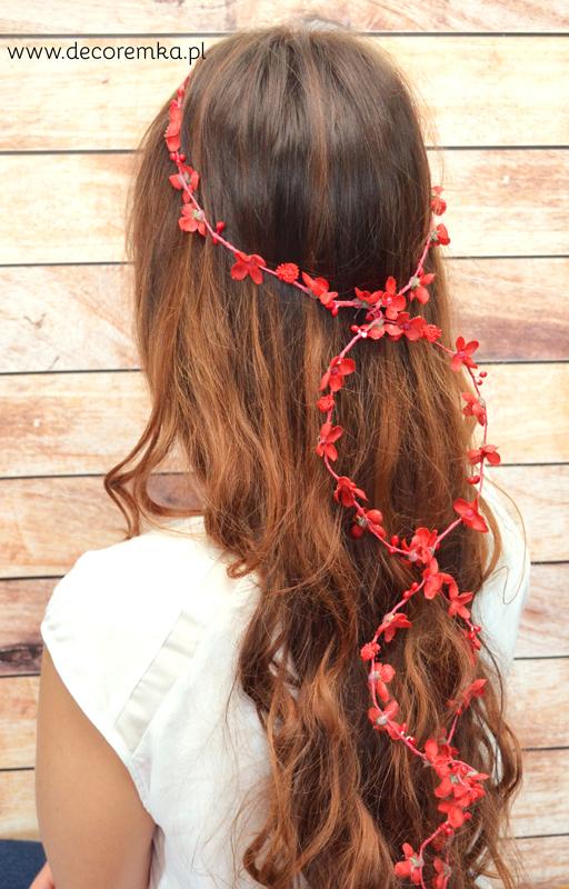 Girlanda do włosów – czerwona