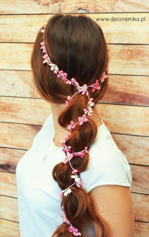 Girlanda do włosów – różowa