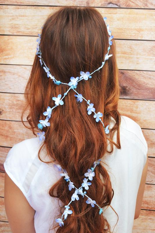 Girlanda do włosów – błękitna
