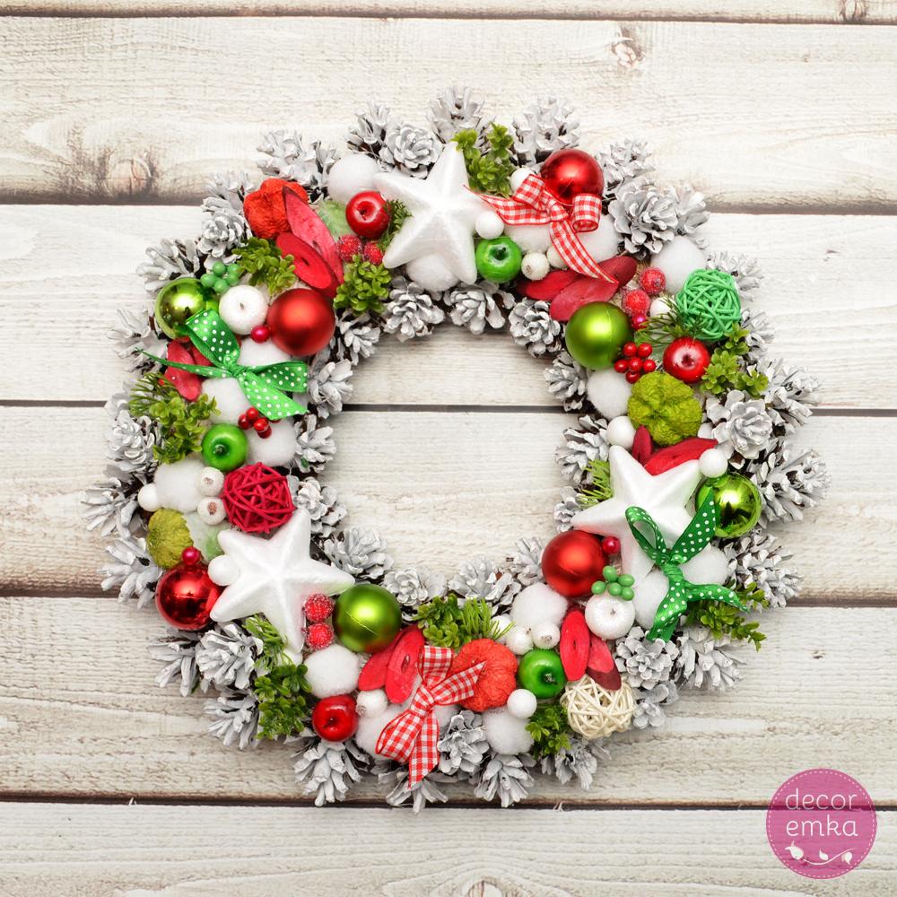 Wianek świąteczny – zieleń + czerwień
