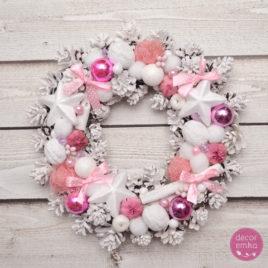 Wianek białe szyszki + róż