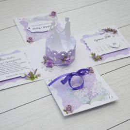 Exploding box – ślub srebrno-fioletowy