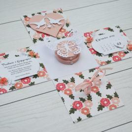 Exploding box – ślub różowe kwiaty