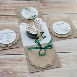 Exploding box – ślub – rustykalny z zielenią