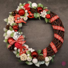 Wianek świąteczny czerwono- biały