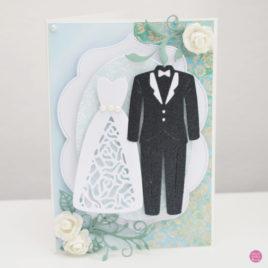 Kartka ślubna – garnitur i suknia [1]