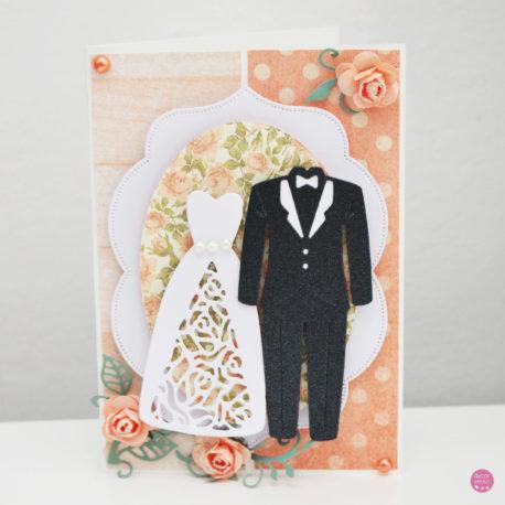 kartka ślubna garnitur suknia 3a