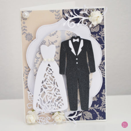 kartka ślubna garnitur suknia 4a
