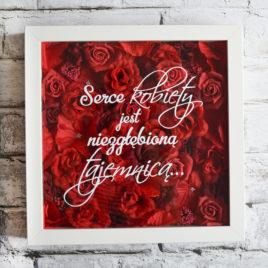 """Kwiatowa ramka – """"Serce kobiety"""" czerwień"""