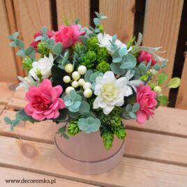 Flowerbox – róż z eukaliptusem